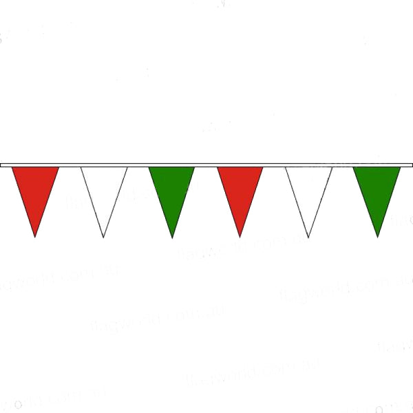 Pennant Bunting Red, White & Green - Vinyl - 100m