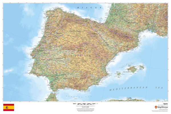 Spain Wall Map 914 x 610mm