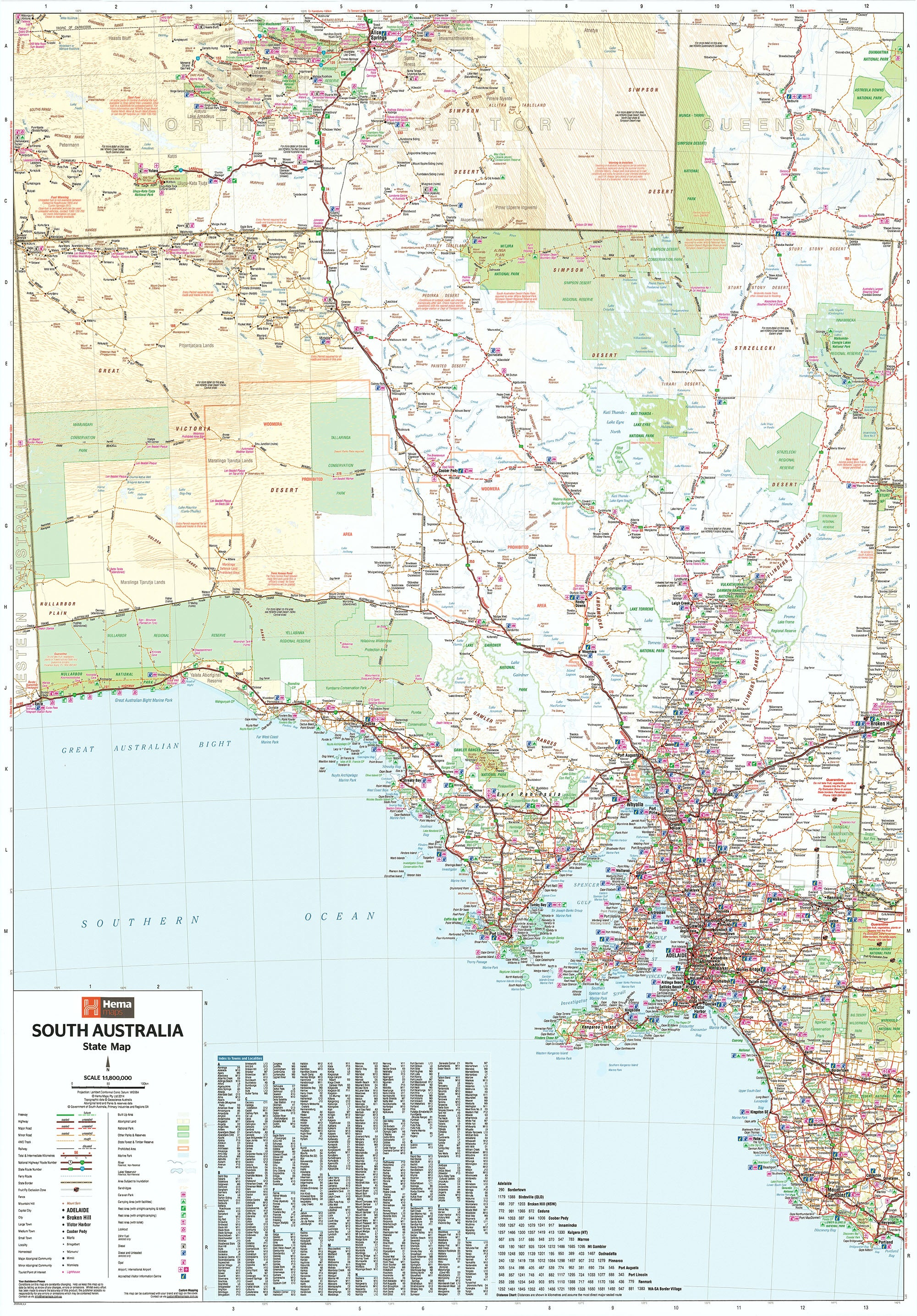 Map Of Southern Australia.South Australia Hema 1000 X 1400mm Supermap Laminated Wall Map