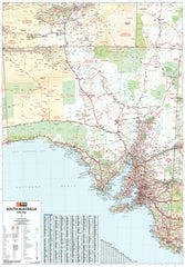 South Australia Hema 1000 x 1400mm Supermap Laminated Wall Map with Hang Rails