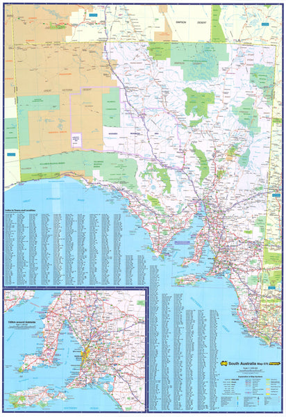 South Australia State UBD Map 1400 x 2000mm Laminated Wall Map