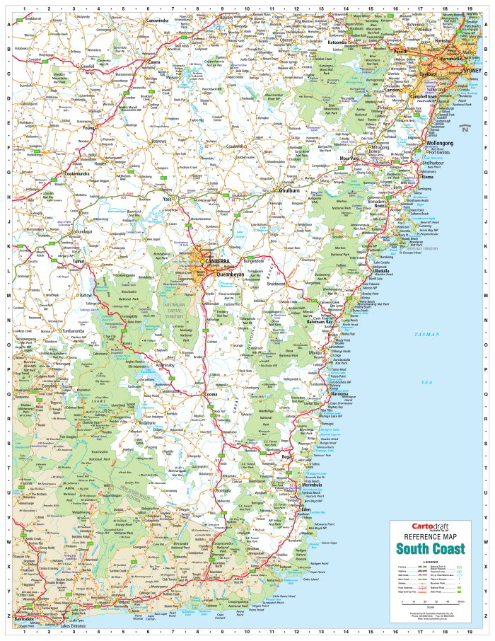 South Coast NSW 900 x 1165mm Laminated Wall Map
