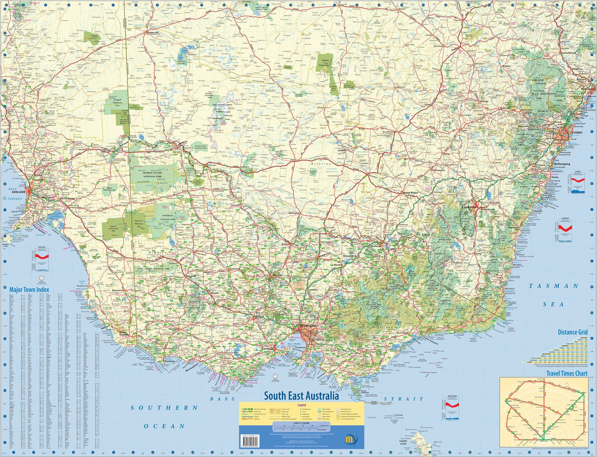 Full Map Of Australia.South East Australia Meridian Wall Map 1005 X 815mm Laminated Wall Map With Hang Rails