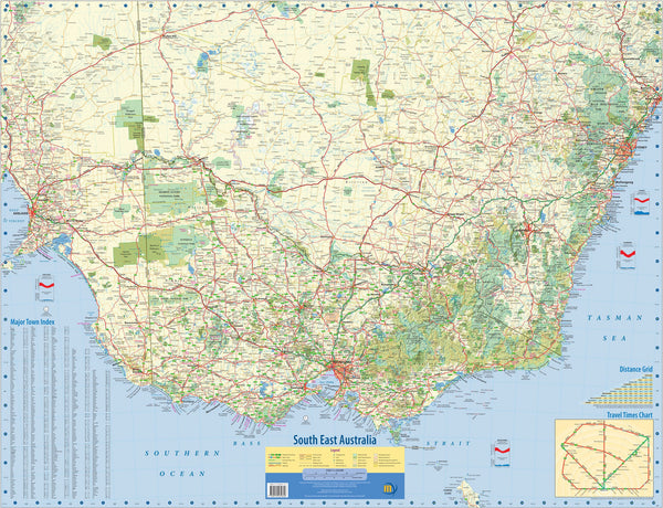 South East Australia Meridian Wall Map 1005 x 815mm Laminated Wall Map with Hang Rails
