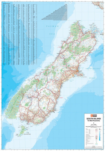 New Zealand South Island Hema 700 x 1000mm Laminated Wall Map with Hang Rails