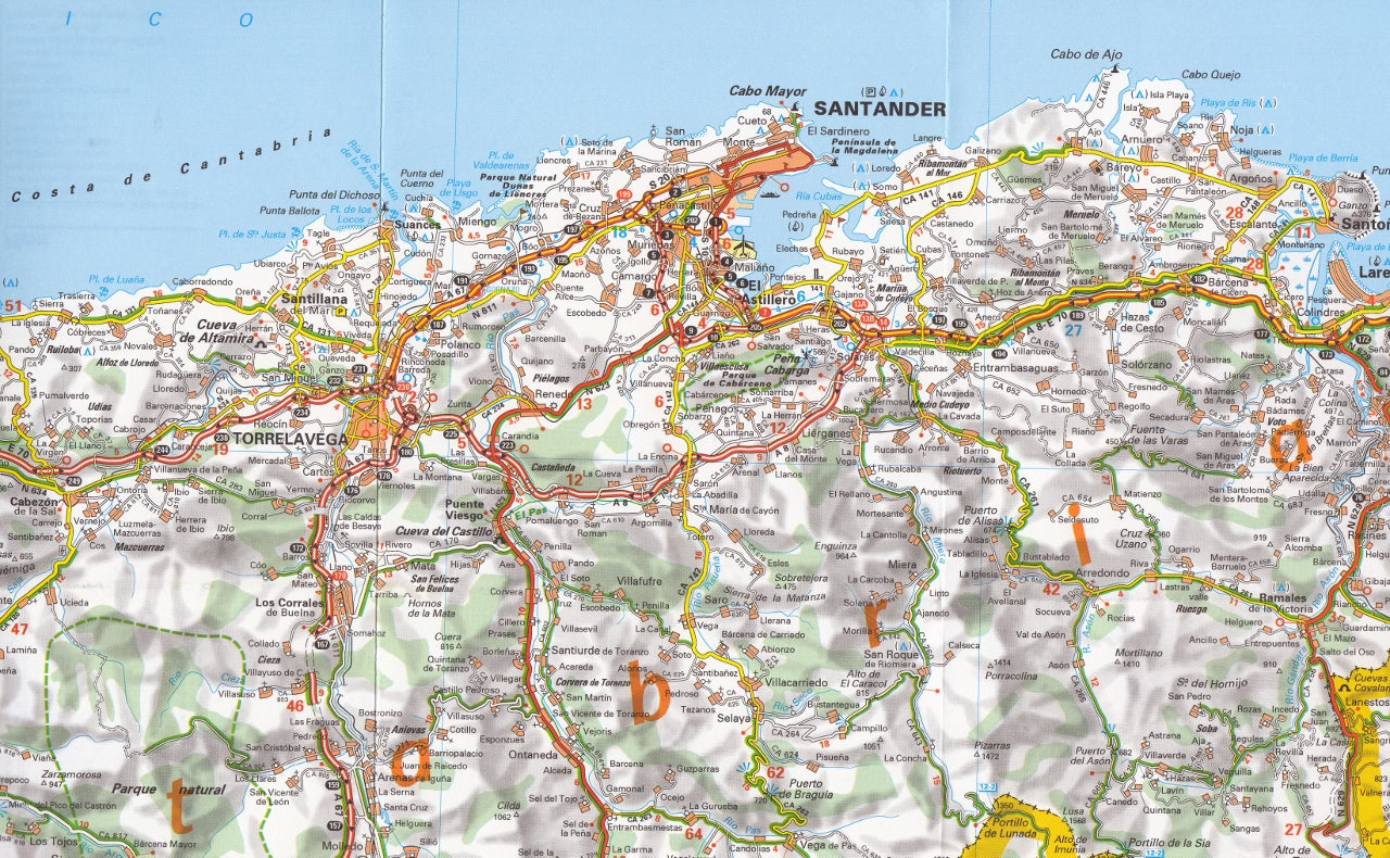 Map Of Spain North.Spain North West Asturias Cantabria Michelin Map 572