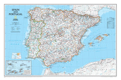 Spain & Portugal National Geographic 838 x 559mm Wall Map