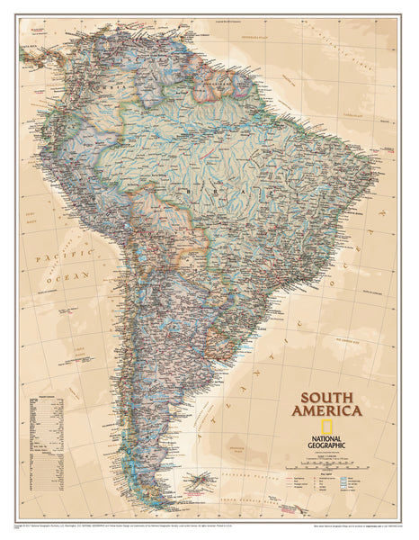South America Executive Antique Style National Geographic 599 x 770mm Wall Map