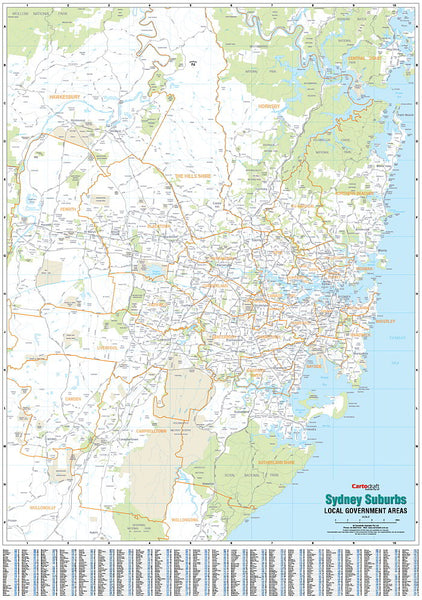Sydney Local Government Areas Map 985 x 1400mm Laminated Wall Map