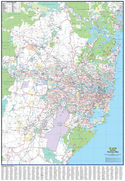 Sydney Business Map UBD 1010 x 1350mm Laminated Wall Map with Hang Rails