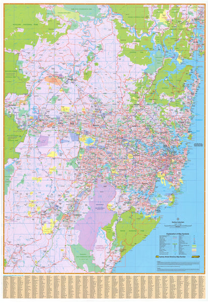 Sydney UBD Map 1380 x 2000mm Laminated Wall Map with Hang Rails