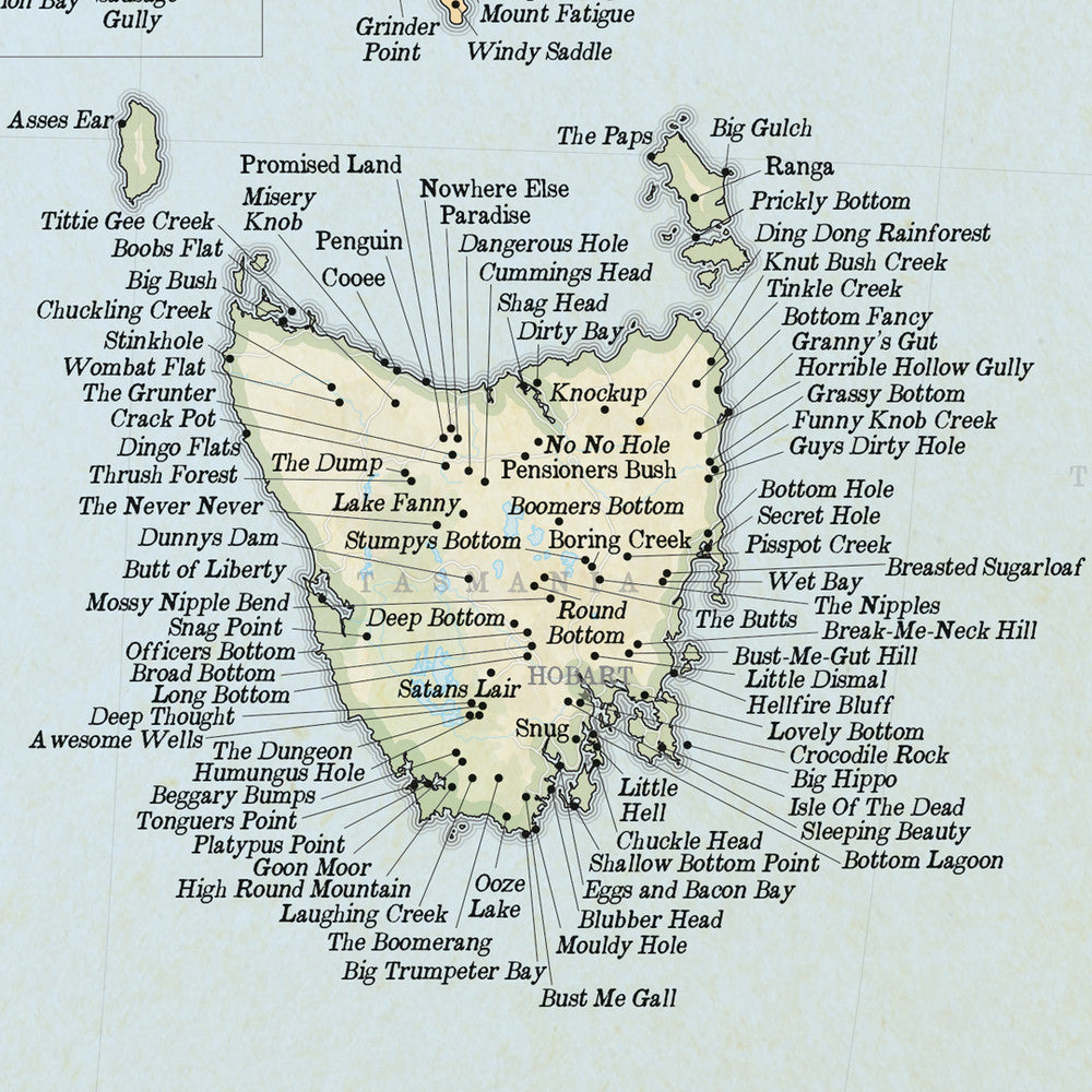Map Of Australia Funny.Marvellous Map Of Actual Australian Place Names
