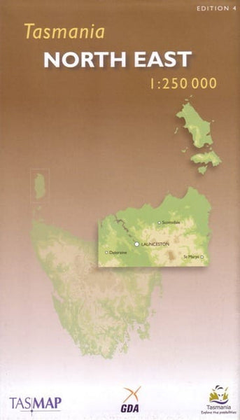 Tasmania North East Tasmap Map
