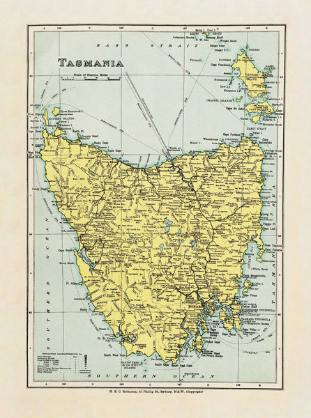Tasmania Wall Map by Robinson published 1908