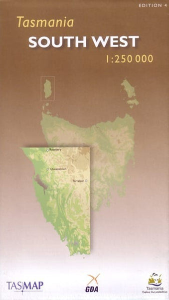 Tasmania South West Tasmap Map