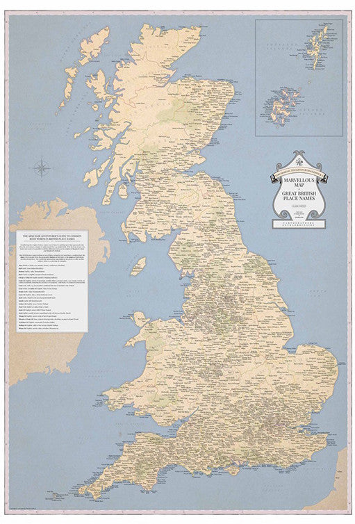 Map Of Uk To Buy.Marvellous Map Of Great British Place Names