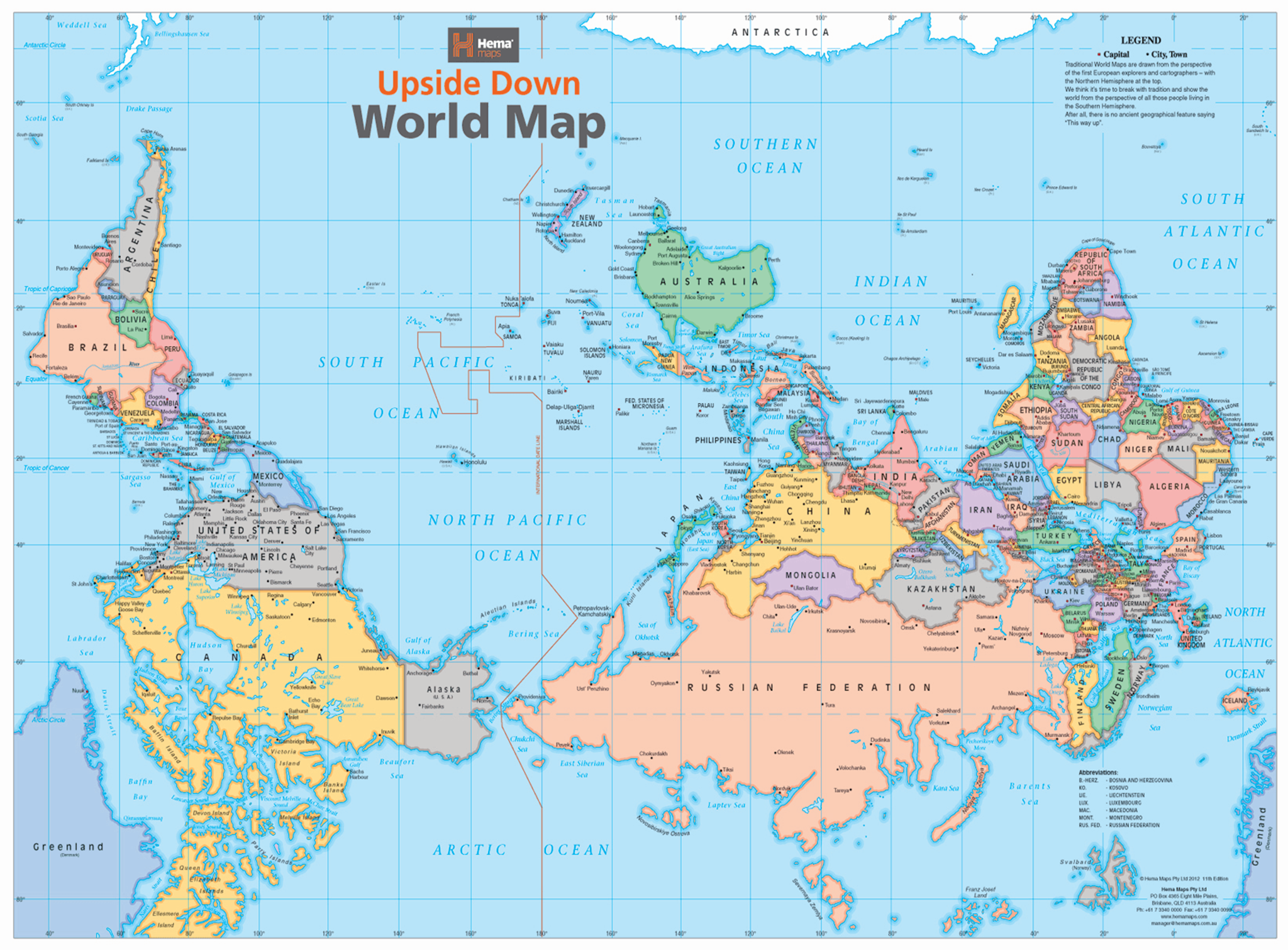 Australia Wall Map.Upside Down World Map 840 X 594mm Laminated Wall Map