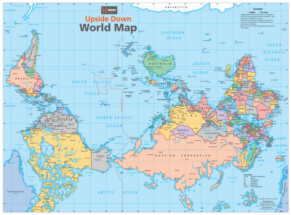 Upside down world hema map buy upside down map of the world mapworld upside down world map 840 x 594mm laminated gumiabroncs Images