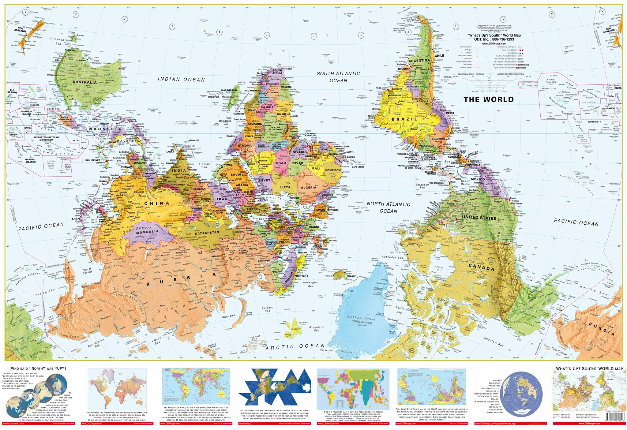 Australia Map Upside.Upside Down World 1430 X 920mm Laminated Wall Map