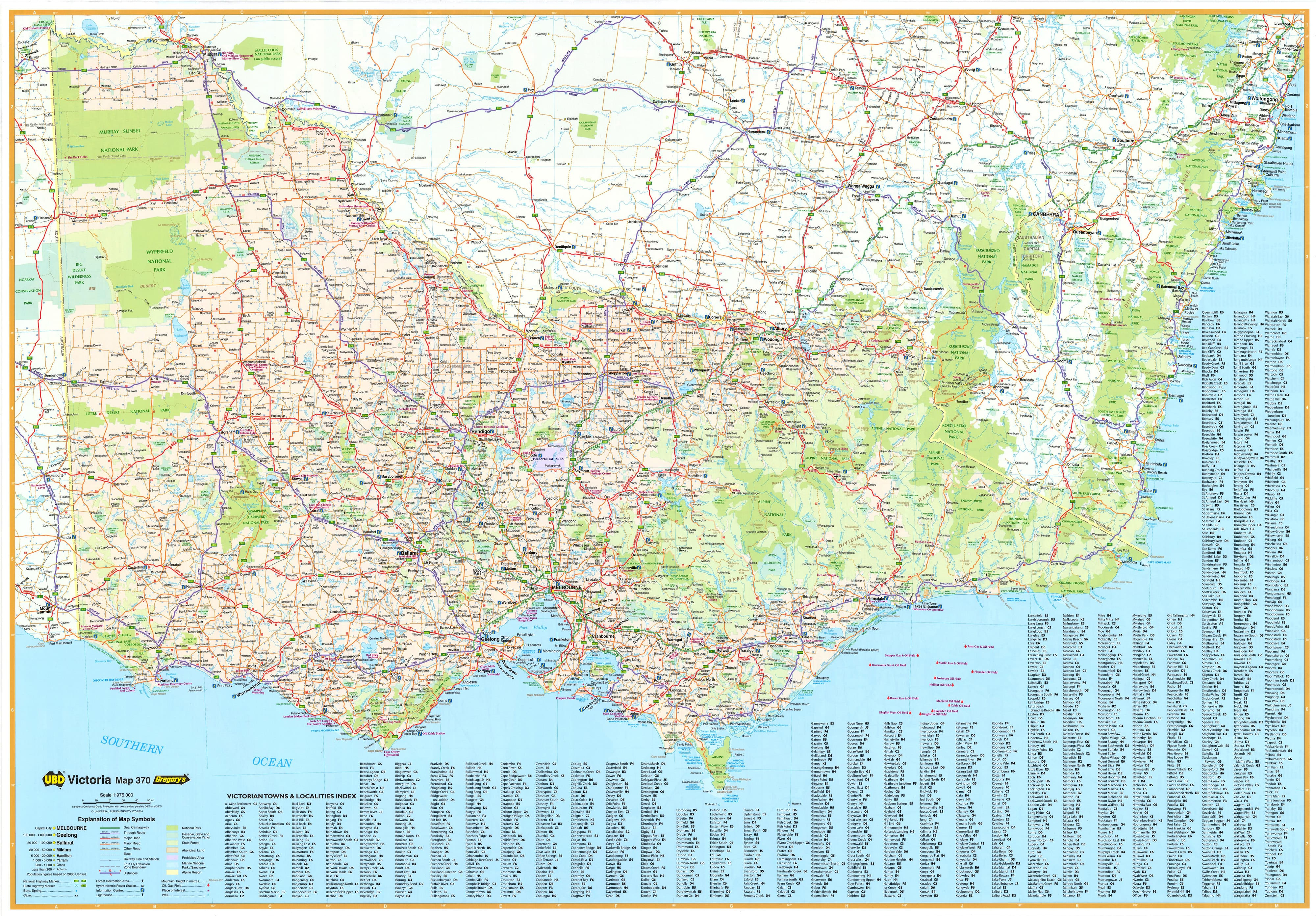 Victoria 370 UBD Map 1000 x 690mm Laminated Wall Map