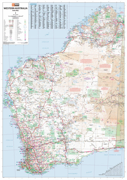 Western Australia Hema 1000 x 1400mm Supermap Laminated Wall Map with Hang Rails