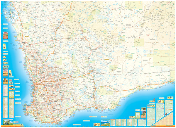 Western Australia South Supermap QPA 1440 x 1050mm Laminated Wall Map