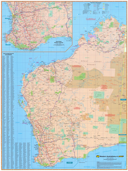 Western Australia UBD map 1400 x 2000mm Laminated Wall Map with Hang Rails