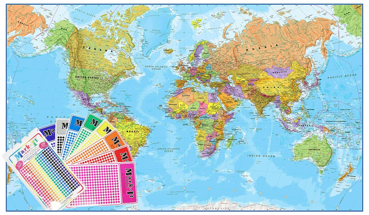 World 1:20 million 2000 x 1200mm Laminated Wall Map with FREE Map Dots