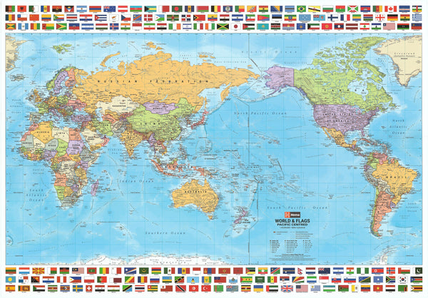 World & Flags Hema (Pacific Centred) 1010 x 720mm Paper