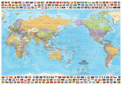 World & Flags Hema (Pacific) 1010 x 720mm Laminated Wall Map with Hang Rails