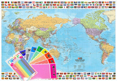 World & Flags Hema Supermap 1410 x 990mm Laminated Wall Map with Hang Rails