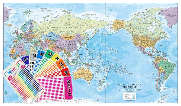 World Political Supermap on Canvas 1400mm x 840mm (Pacific) with FREE Map Dots