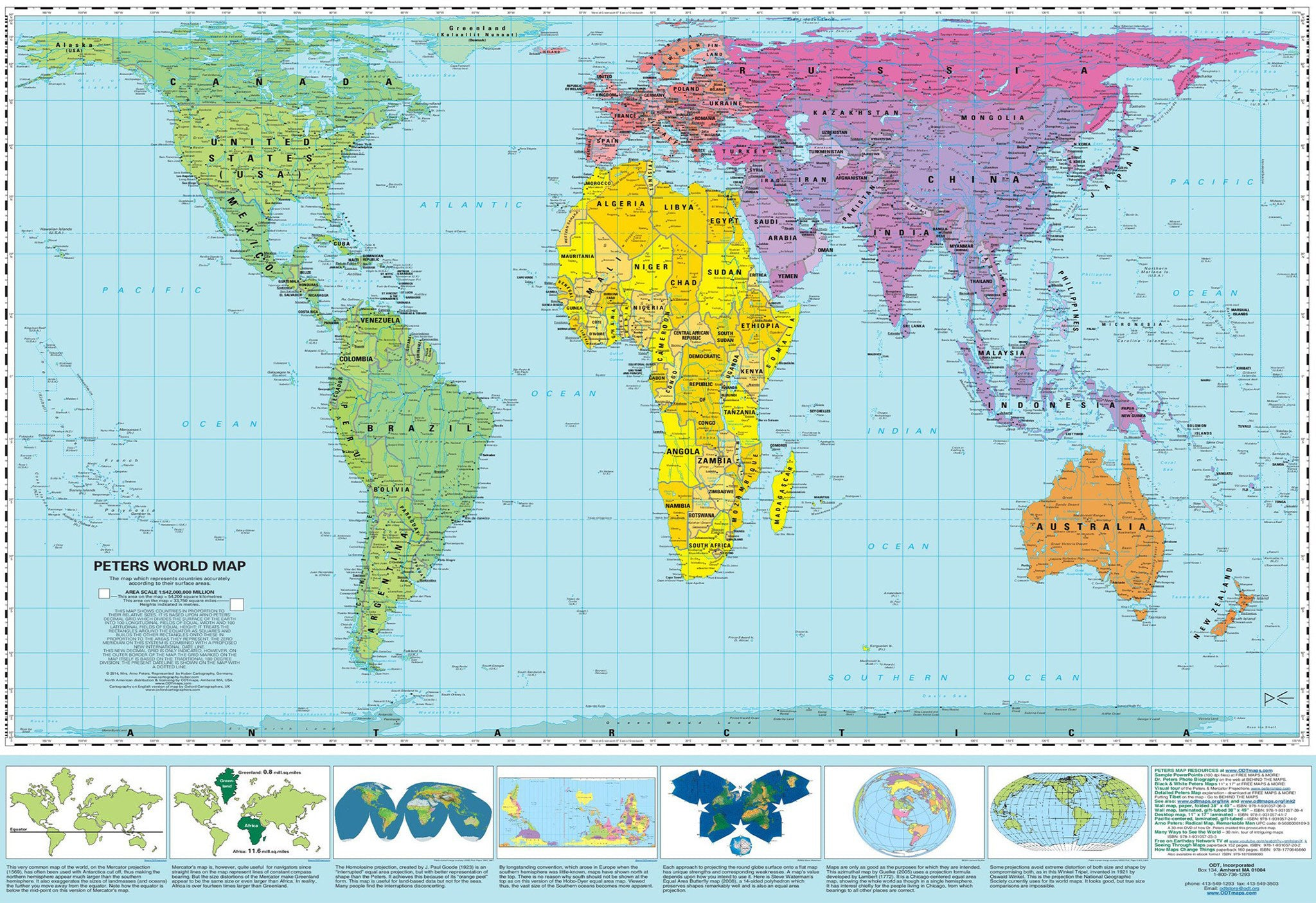 Gall-Peters Equal Area World Map 1270 x 1000mm Paper Folded