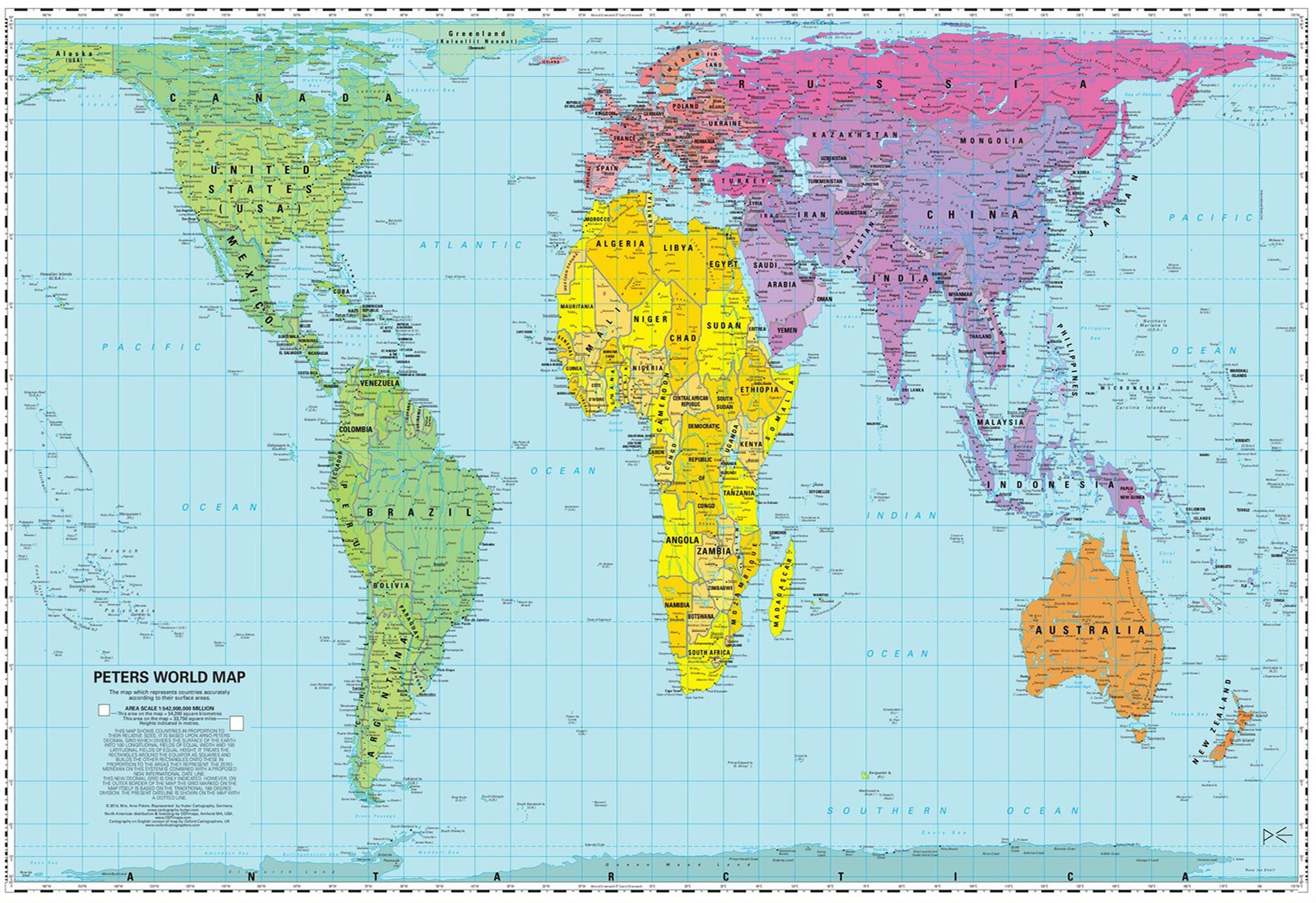 Peters equal area world wall map buy peters world map mapworld gall peters equal area world map 930 x 610mm laminated gumiabroncs Image collections