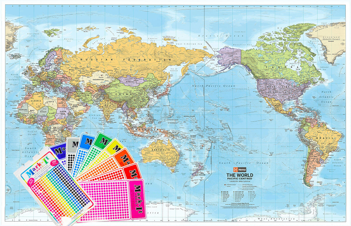 World Political Map (Pacific Centred)   Hema, Buy Hema World Map