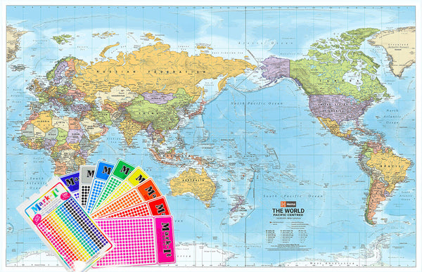 World Hema Political (Pacific) 1550 x 990mm Supermap Laminated with FREE Map Dots