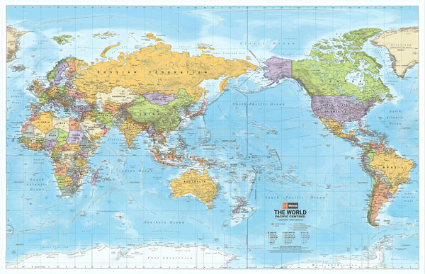 World Hema Political (Pacific Centred) 1550 x 990mm Supermap Paper