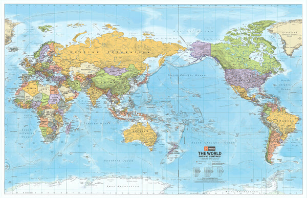 World Hema Mega (Pacific) Laminated Wall Map with Hang Rails