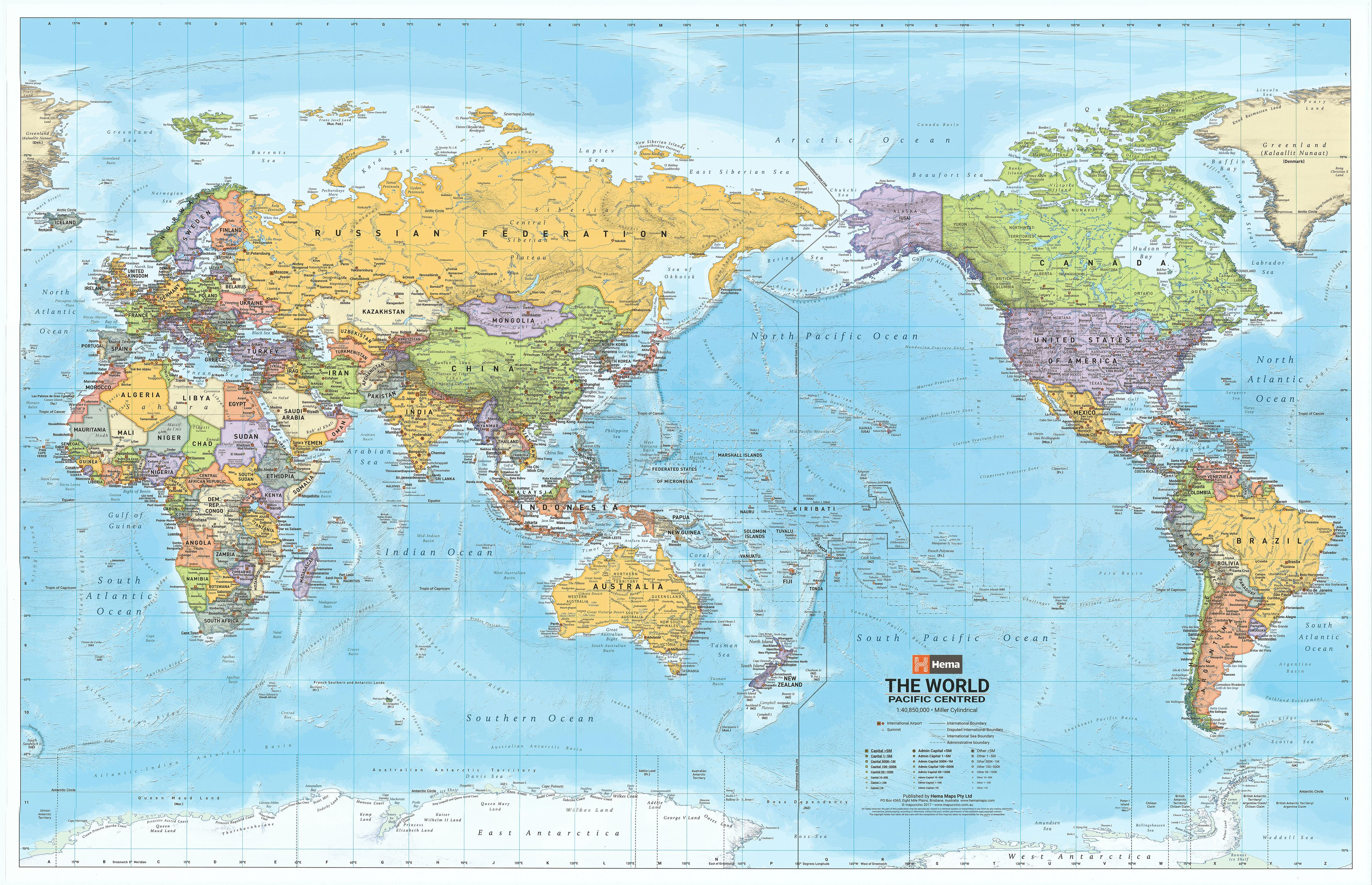 Map Of The The World.World Hema Political Pacific 1550 X 990mm Supermap Laminated Wall Map With Free Map Dots