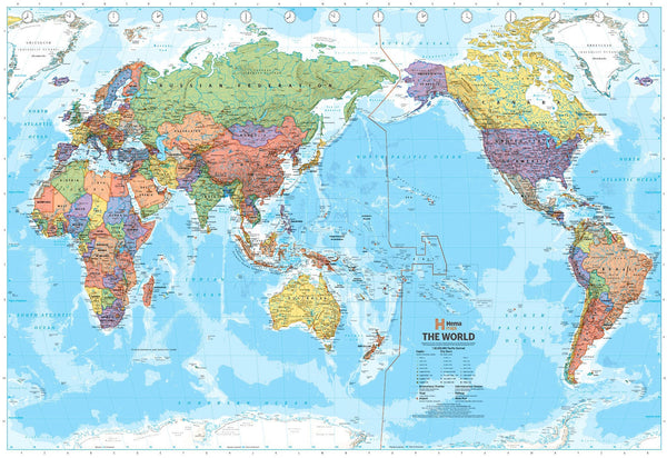 World Political Map (Pacific Centred) by Hema