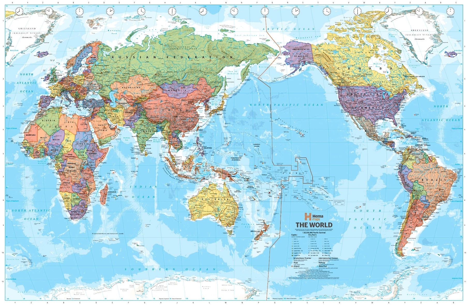 World political map pacific centred hema buy hema world map world hema mega map pacific centred 2320 x 1460mm paper gumiabroncs Images