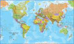 World map international 1:20 million Supermap 2000 x 1200mm Laminated Wall Map