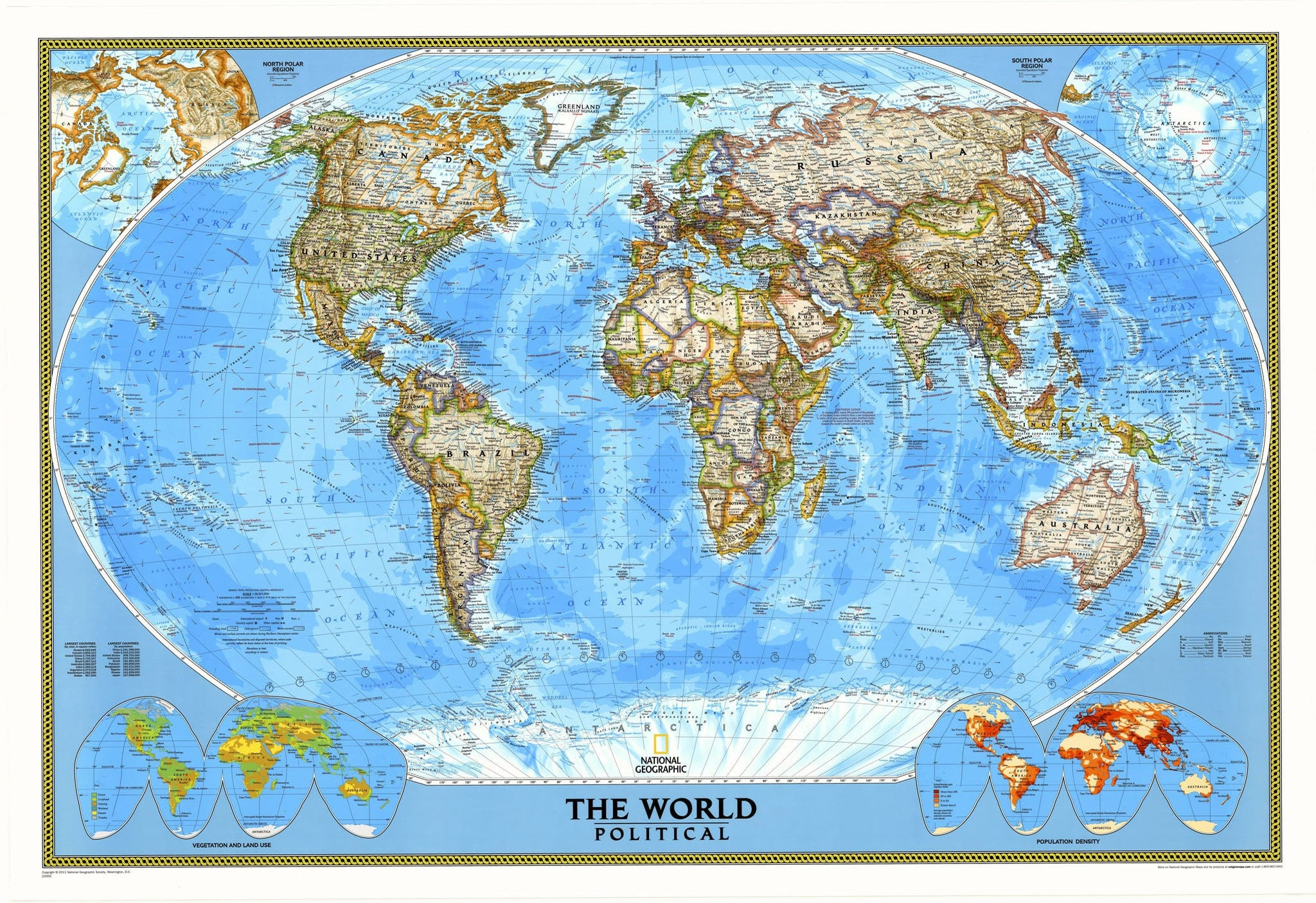 World Political Map by National Geographic | eBay