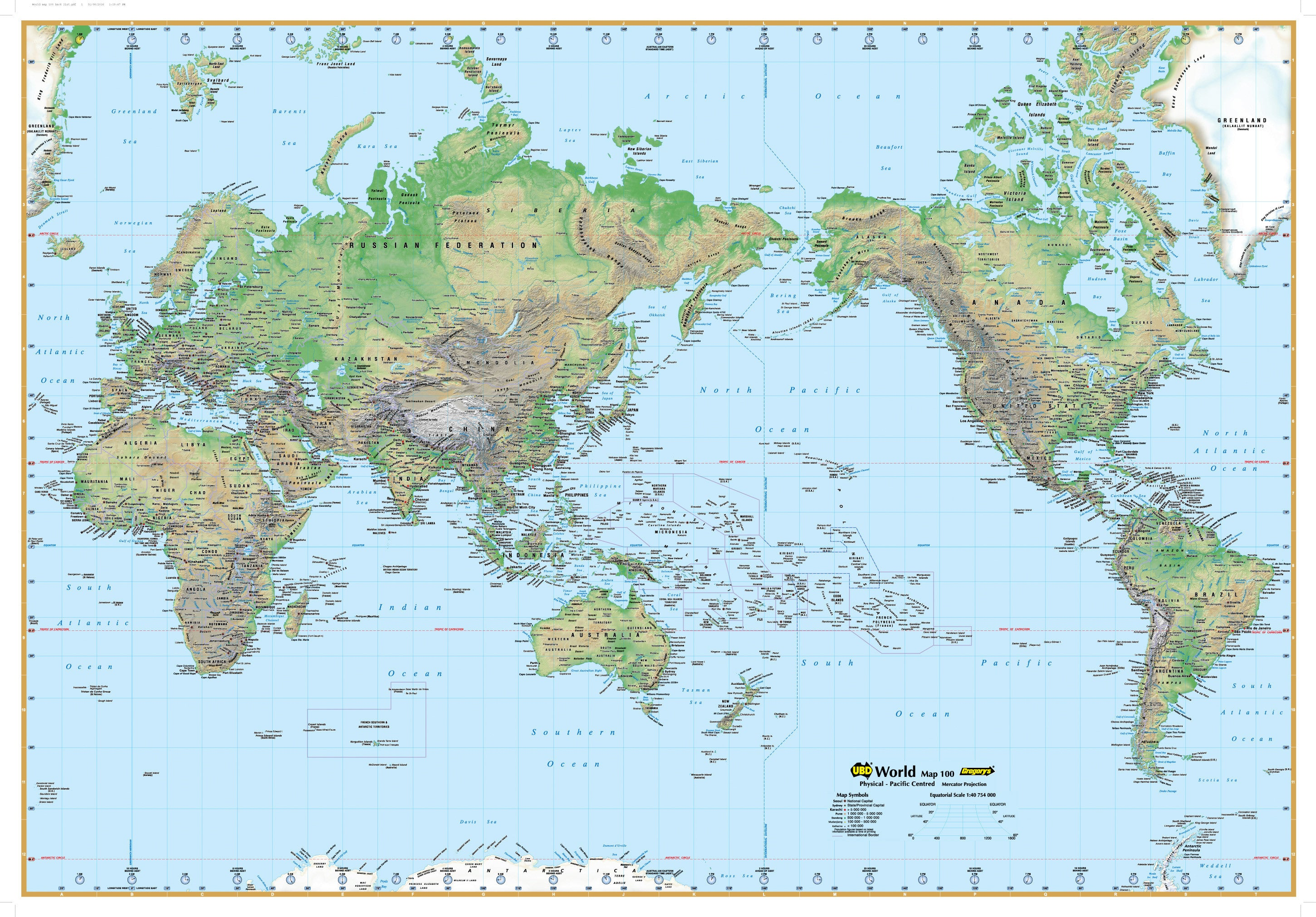 Picture of: World Physical Map 100 Ubd 1010 X 710mm Laminated