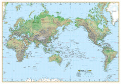 World Physical Mega Map UBD 2000 x 1405mm Laminated