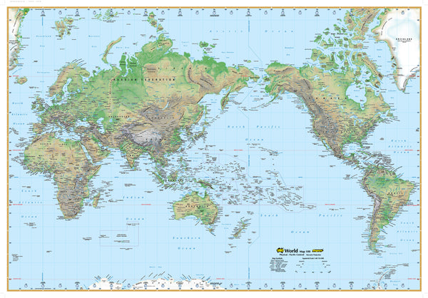 World Physical Map UBD 1010 x 710mm Laminated with Hang Rails