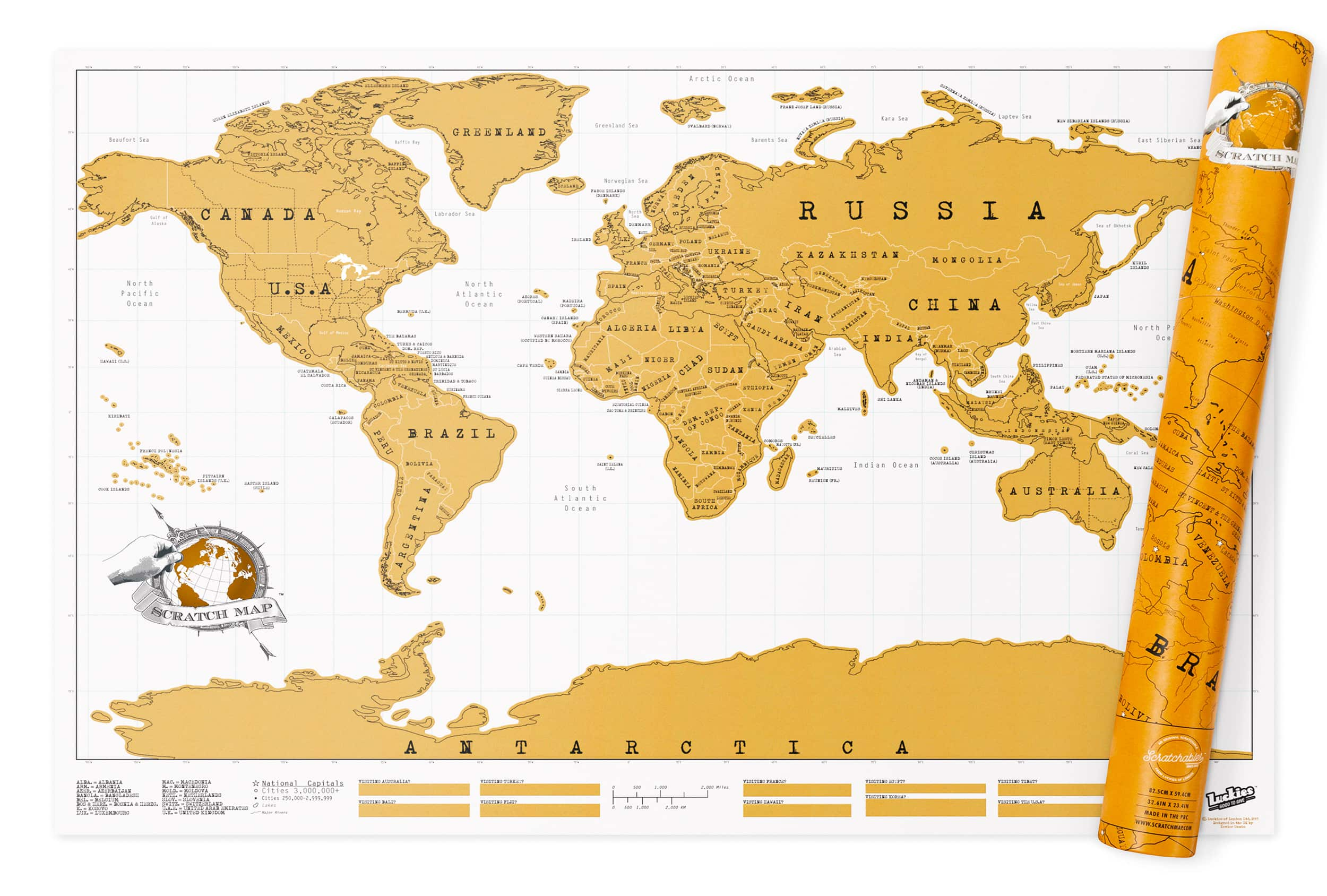Map X.World Original Scratch Map Large Edition 825 X 594mm