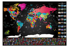 World & Flags Deluxe Scratch Map 810 x 610mm