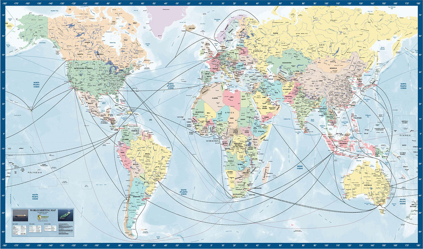 World Shipping Map BMA 1500 x 750mm Laminated