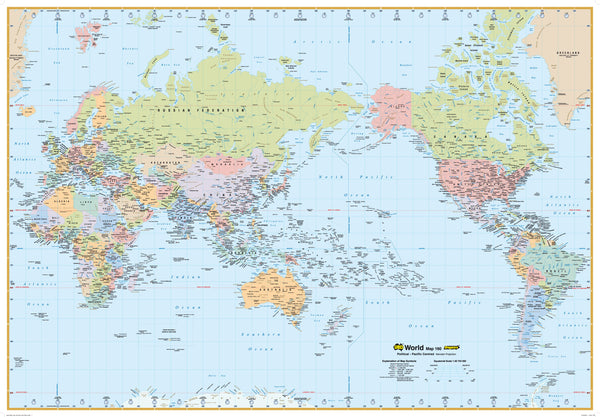World Political Map 160 UBD 1010 x 710mm Laminated Wall Map with Hang Rails